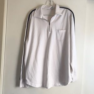 White Pull Over with Collar, Zipper,&Black Stripes